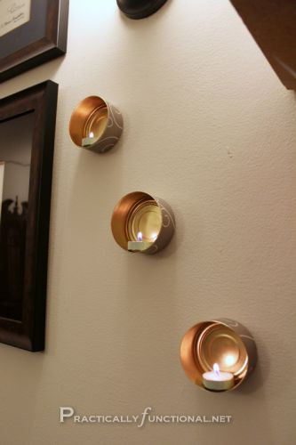 Recycle your tin cans into gorgeous wall-mounted tea light holders!