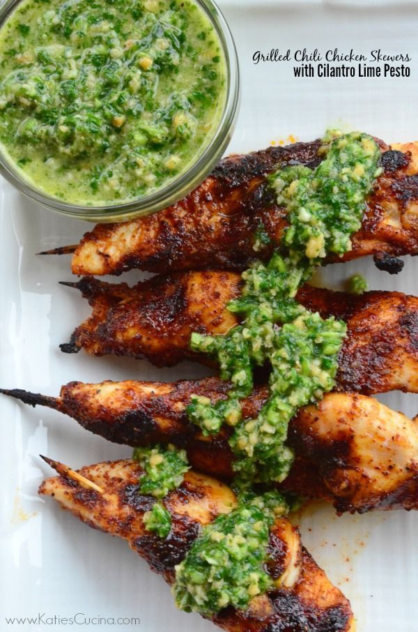 Grilled Chili Chicken Skewers with Cilantro Lime Pesto #chicken #food #recipes