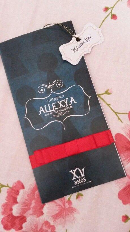 Convite 15 anos - Tema: Alice no país das maravilhas