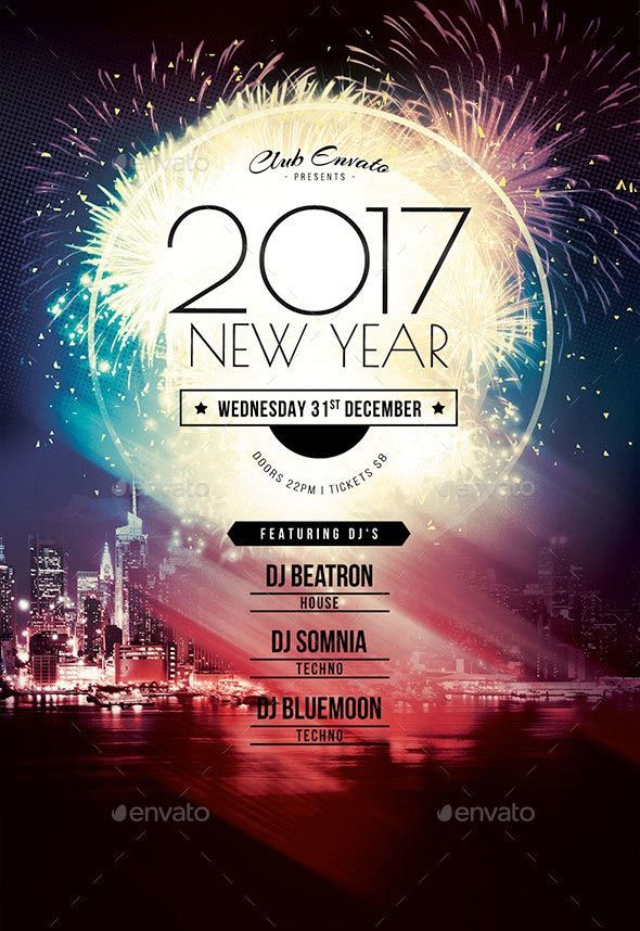2017 New Year Flyer Template This flyer template is designed to announce New Year events. Spectacular firework, vibrant colors and bold type are some of the elements that reflect the sparkling atmosphere during New Year's Eve. With this poster design you are ready to pull in crowds! The photoshop file is well organized in folders and layers. Colors, pictures, elements and text can be customized quick and easy – all in a few clicks.