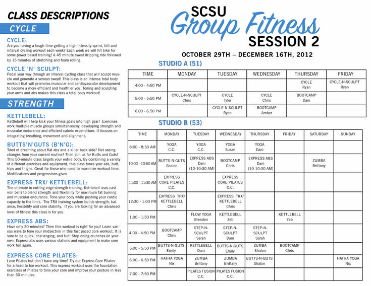 Group Fitness Class Descriptions 79