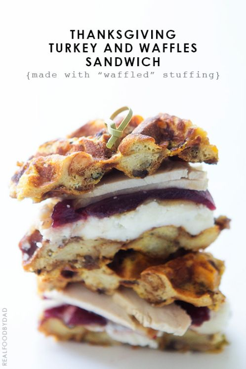 Turkey and Waffles | Have you ever enjoyed that after the holidays sandwich, full of tender turkey, mashed potatoes, tangy cranberry sauce and even bites of zesty dressing. Now you can have all those flavors layered between crunchy dressing that has been cooked to perfection in a waffle maker! What a fabulous idea! @realfoodbydad