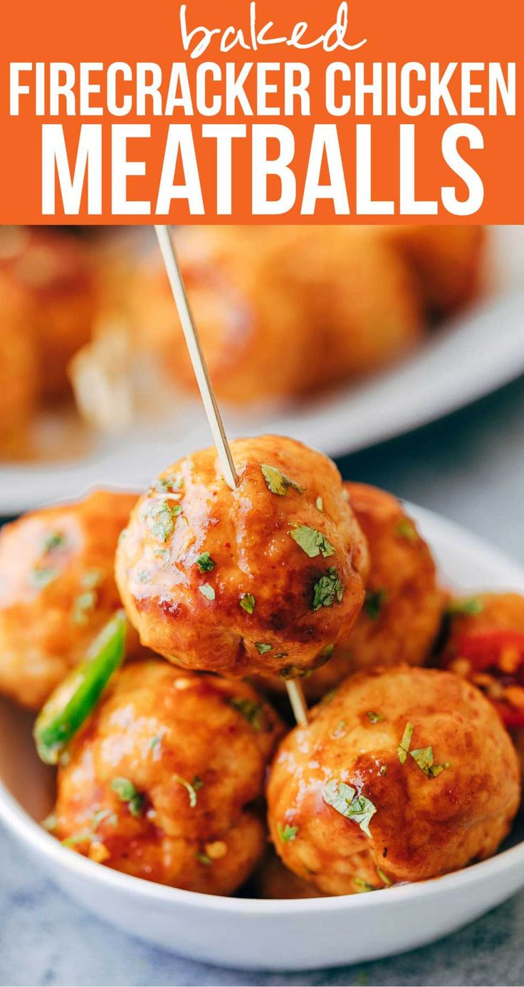 #Baked firecracker #chicken #meatballs are juicy, #spicy and saucy! This easy #appetizer is perfect for #holiday parties. Each #homemade #meatball is super tender and full of flavor. My Food Story blog