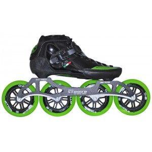 Luigino Strut Inline Speed Skate Green Trim 4 Wheel