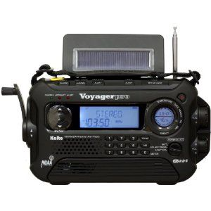 Kaito Voyager Pro KA600 - good emergency radio. Hand crank, solar, plus battery. It picks up AM/FM and shortwave. This is what we have at home.