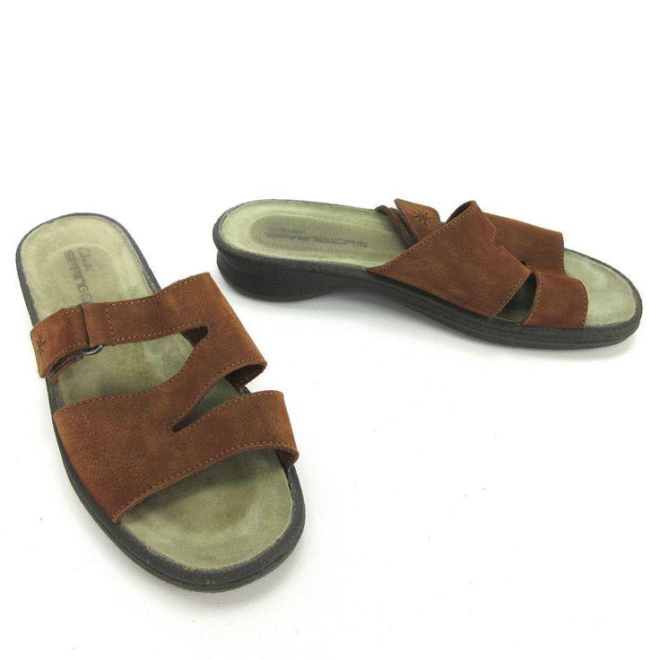 Clarks Springers Womens Sandals 9.5 W Chestnut Brown Nubuck Suede Wedge  Slides
