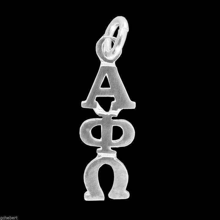 Alpha Phi Omega Sterling Silver Greek Drop Letter Lavalier Classic Pendant, ΑΦΩ  #McCartney #PendantDropLetterCharm