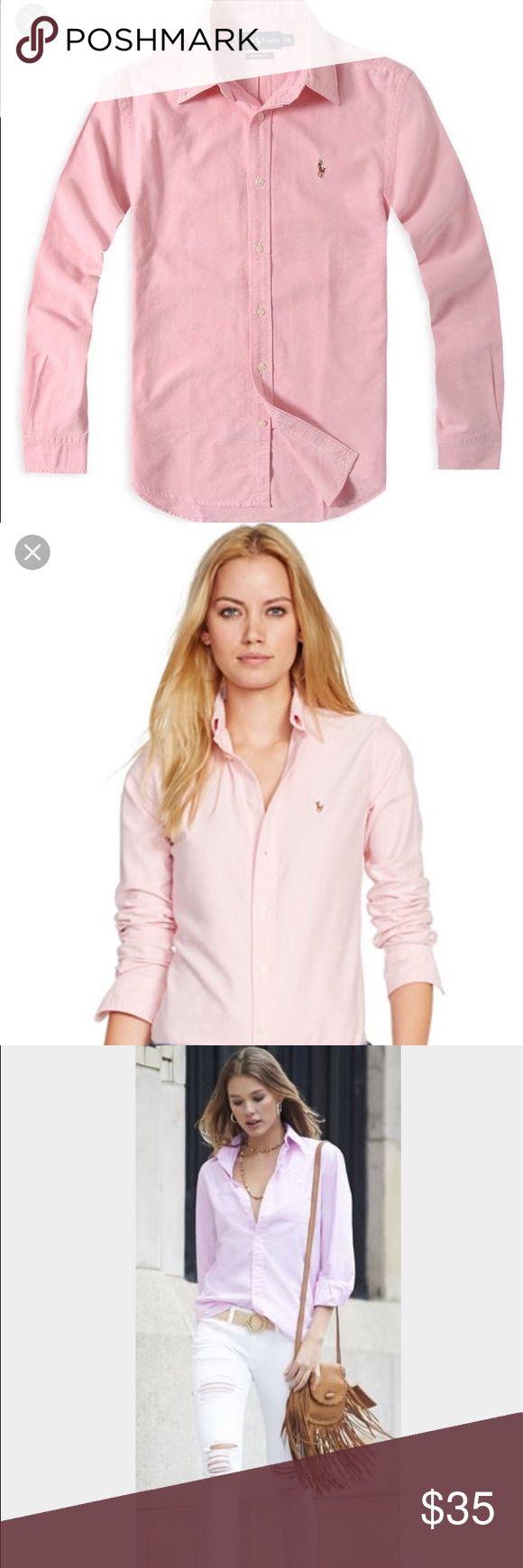 Pink Ralph Lauren Women's oxford shirt Light pink button up oxford Ralph Lauren shirt. 100% cotton. Long sleeve. Ralph Lauren Tops Button Down Shirts