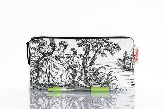 Toile de jouy pencil case black white Classic pouch Shabby Chic by StudioAndCo