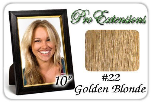 """10"""" Inch #22 Medium Blonde Pro Extensions Human Hair Extensions by ProExtensions. $49.99. #22 Medium Blonde - 10 inch. This Pro Extensions clip in hair extension set is Colored #22, MEDIUM BLONDE. Pro Extensions are 100% human hair extensions. This set of hair extensions is 10"""" long and 39"""" wide. This hair extensions set is Grade A, Color #22, MEDIUM BLONDE. The set weight is 50 grams. This set of extensions is straight without any body wave. Pro Extensions Volumizer is s..."""