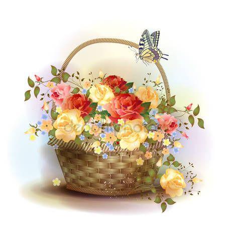 Скачать - Плетеная корзина с розами. Викторианский стиль — стоковая иллюстрация #25432771
