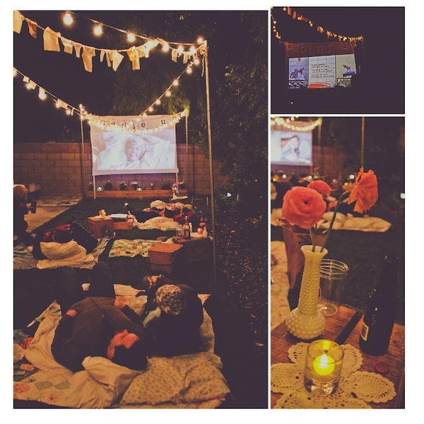 Outdoor Movie Night *v* http://leslieautumn.blogspot.com/2011/11/date-night-birthday-bash-part-2.html?m=1