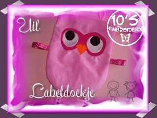 10EMBROIDERY Project Labeldoekje Uil (41K)