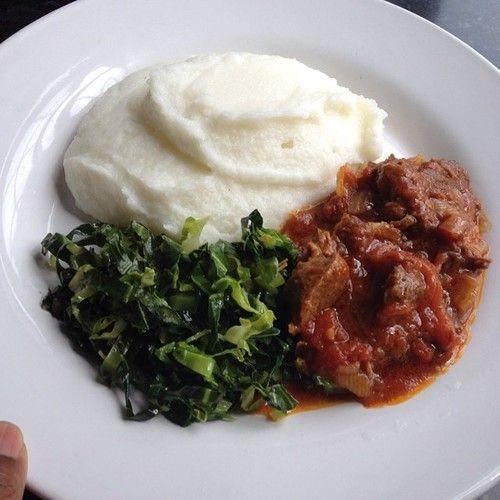Zimbabwean food! (Sadza, greens, beef stew) :P