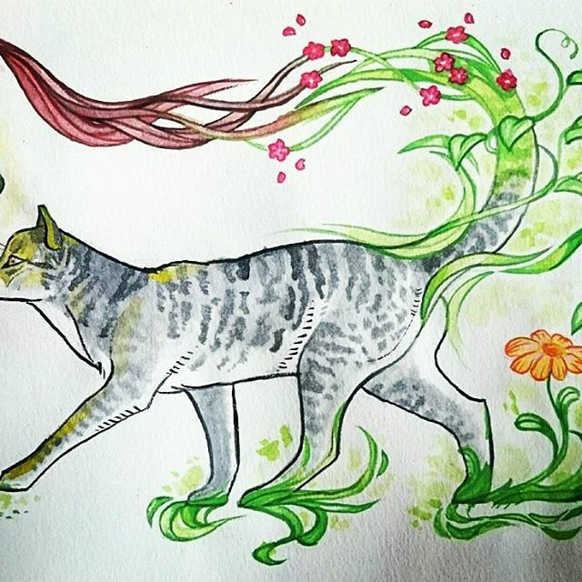 😸🌼🌿 #watercolours #cat #animals #painting #drawing #nature