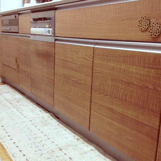 キッチン リメイクシート 淡い木目調 セリア ウッドオーナメント 木目
