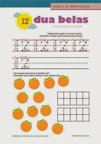 belajar berhitung anak, menulis/mewarnai angka 11-20 untuk paud (balita/TK)