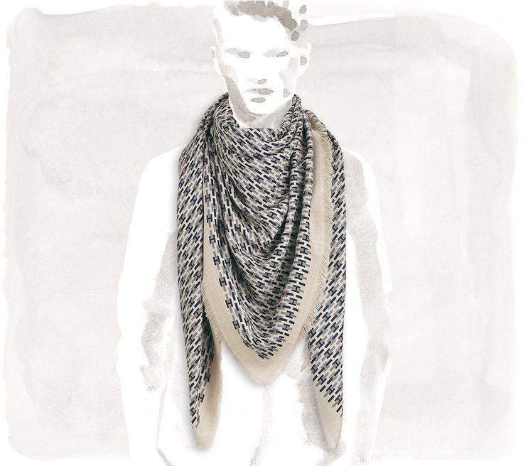 Hermès - De H en H - Carré uomo in cachemire e seta con frange, orlo a mano 140 x 140 cm, (col. naturale/oceano/grigio-blu)