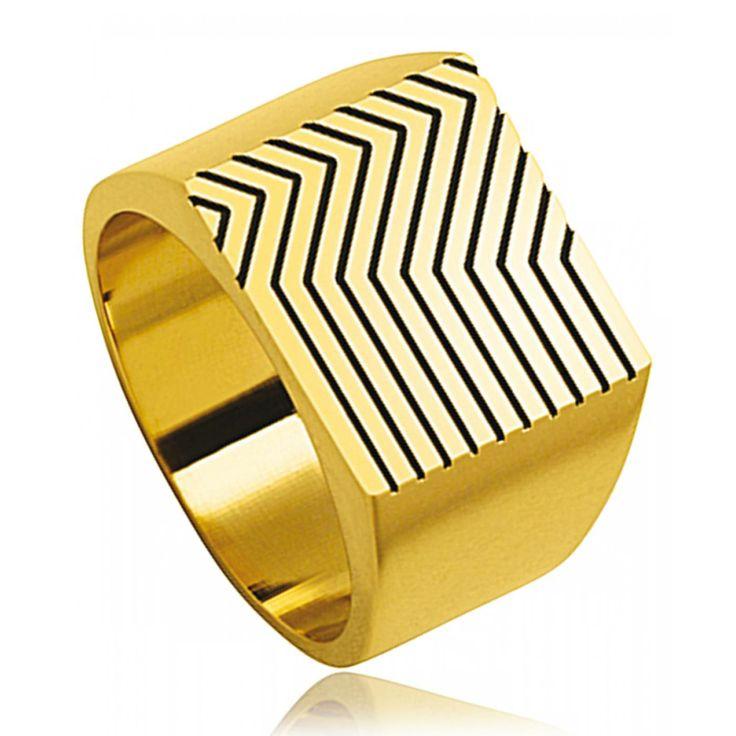 Men gold plated Gatsy one signet rings - Kenzo