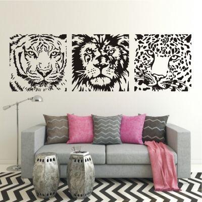 deko-shop-24.de-Wandtattoo-Banner Tiger Löwe Leopard