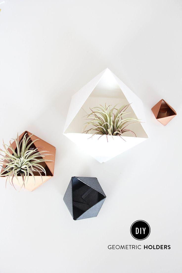 DIY geometric holders: http://www.stylemepretty.com/living/2015/08/25/diy-geometric-holders/ | DIY: The Shift Creative - http://theshiftcreative.com/