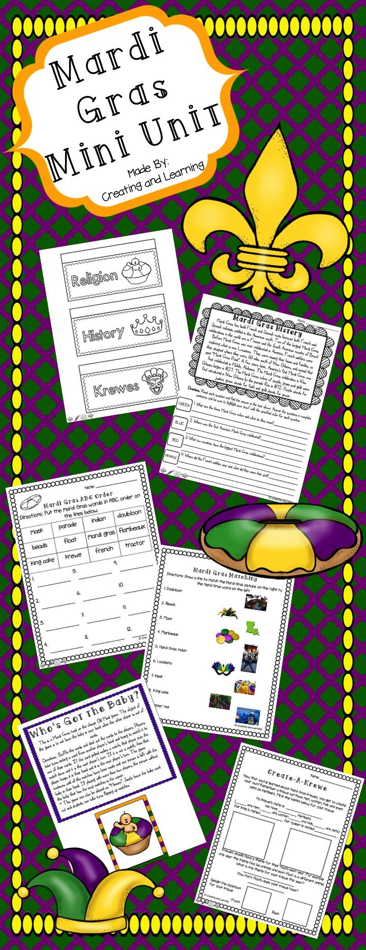 """This mini Mardi Gras unit covers the history and traditions of the holiday. Also included are some fun worksheets, a mini book and """"find the proof"""" pages. Great for 2nd-5th grades!"""