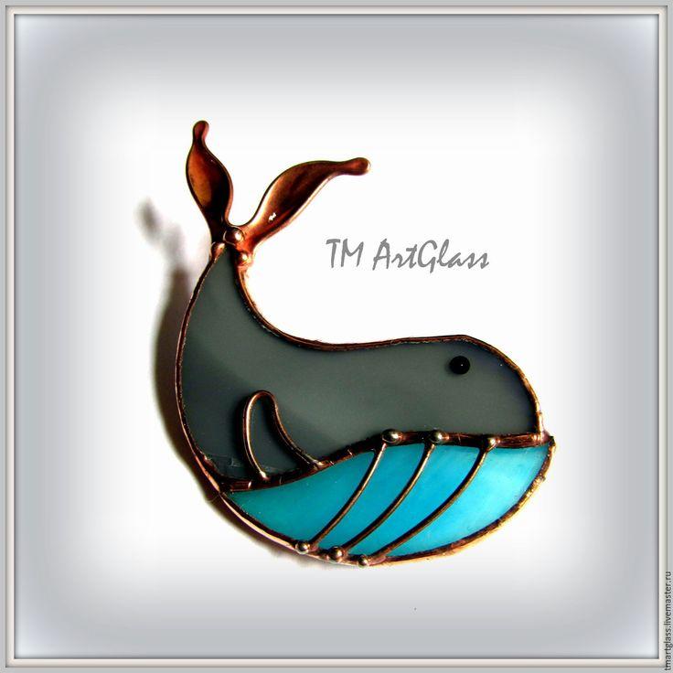 Купить Брошь витраж Синий Кит - серый, голубой цвет, брошь, брошка, кит, океан