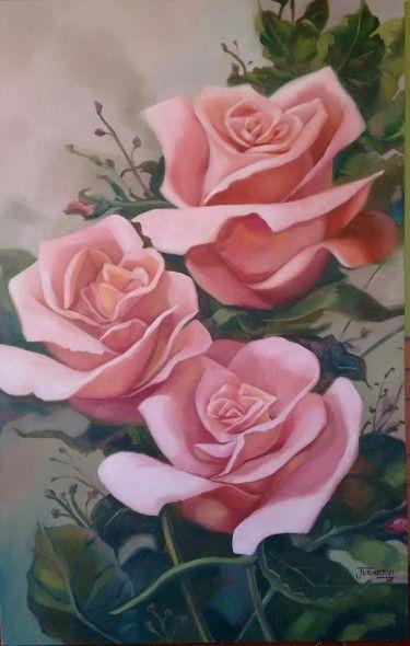 Obra de arte: Rosas No. 6 Artistas y arte. Artistas de la tierra roses oil painting - pintura al  oleo