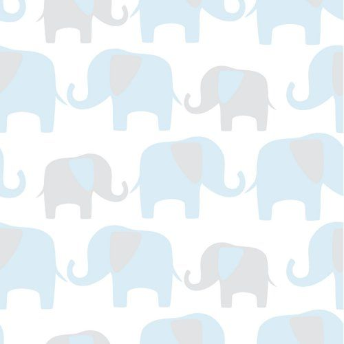 Brewster Blue Elephant Parade Peel And Stick Wallpaper - Kids and Nursery Wall Art at Hayneedle