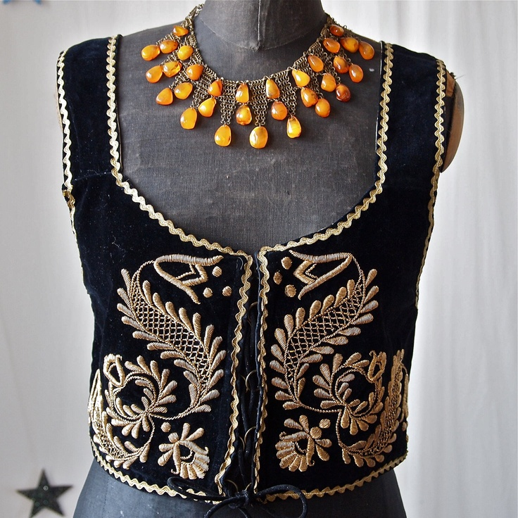 Czech Black Velvet and Gold Embroidery Metallic Thread Bullion Lace Up Vest Folk Costume. $98.00, via Etsy.