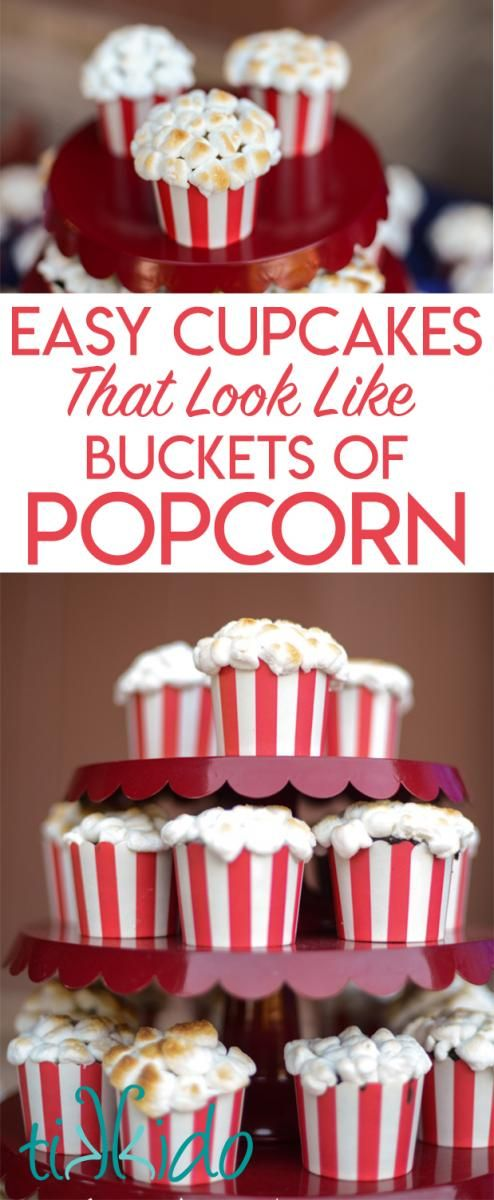 How To Make Cupcakes That Look Like Buckets Of Popcorn Using Red