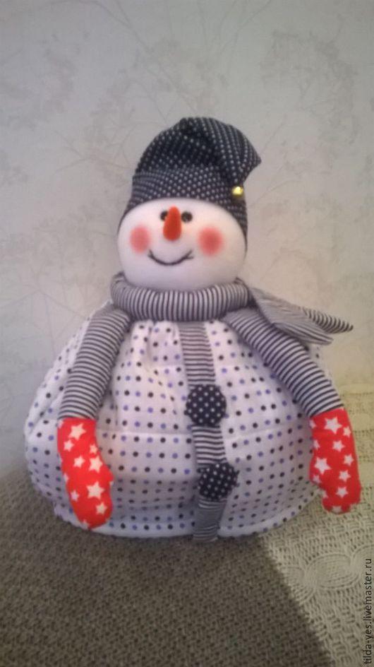 Новый год 2016 ручной работы. Ярмарка Мастеров - ручная работа. Купить Снеговик(грелка для чайника). Handmade. Синий, мулине, хлопок 100%