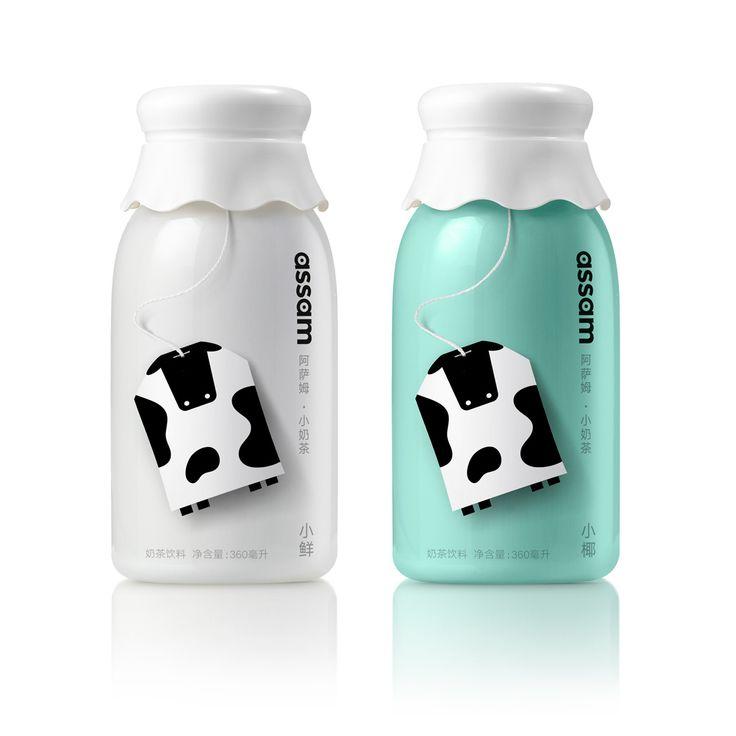 Uni-president, milk tea & milk tea with coconut package design by…