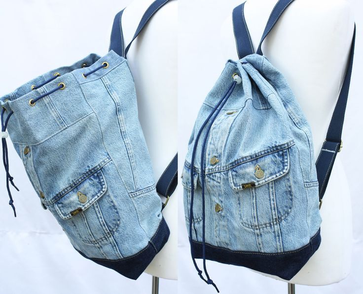denim backpack repurposed jean jacket big bucket drawstring bag vintage 80s 90s grunge backpack hipster upcycled recycled laptop sleeve by UpcycledDenimShop on Etsy https://www.etsy.com/listing/279843164/denim-backpack-repurposed-jean-jacket