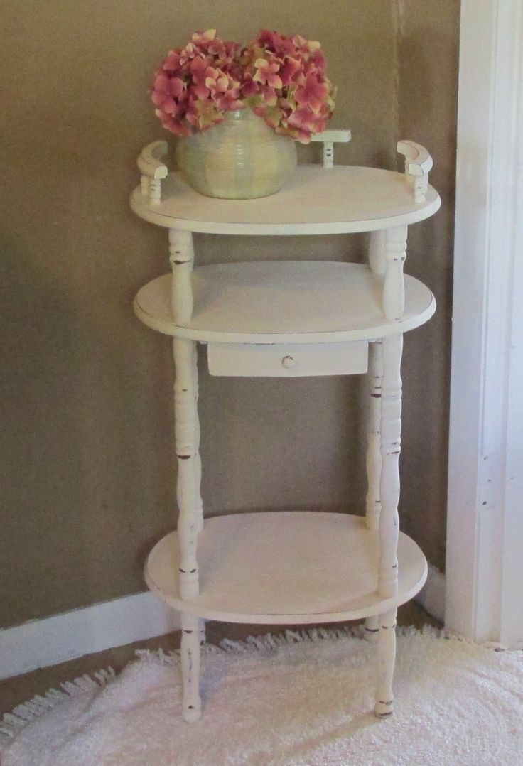 Lovely, Accent, Side, End Table, Night Stand, Distressed Antique White,