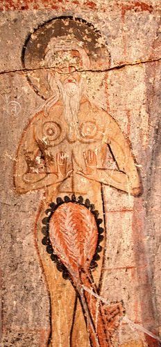 I think this is St. Onuphrius, a hermit from Egypt, in the Snake Church, Goreme, Cappadocia, Turkey