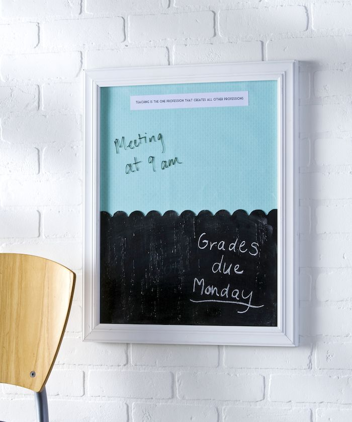 This dual DIY dry erase board and chalkboard makes a lovely teacher's gift, but…