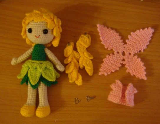 #amigurumi fairy doll with all the parts. It is beautiful but she didn't write down the pattern, our loss.