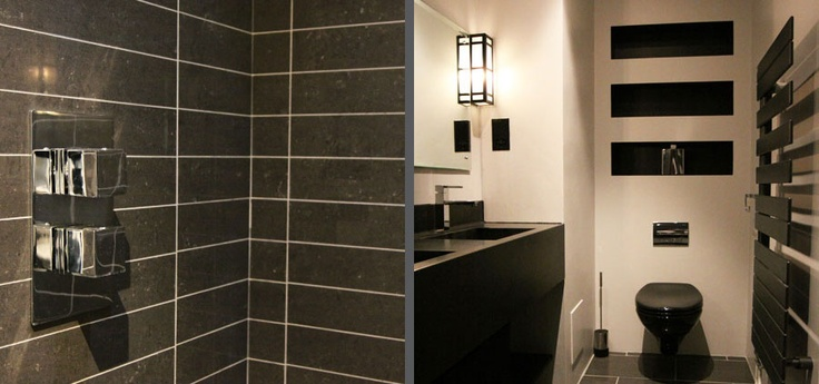 Modern Art Deco Bathroom: mix of art deco features through lights with modern features of corian vanity basin and Zehnder radiator. From our Chelsea Apartment design project