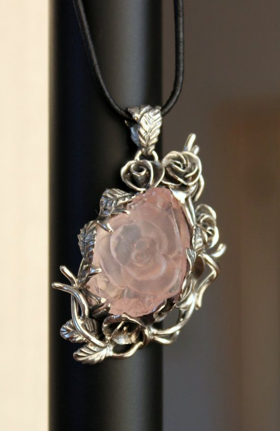 Handmade sterling silver pendant Rose 2 with by DetelinaCameo
