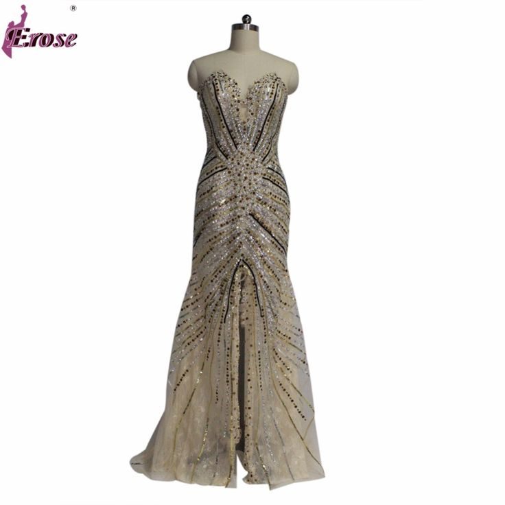 ==> [Free Shipping] Buy Best Vestido Miss Universo 2016 New Arrival Pageant Dresses Evening Dresses Mermaid Gold side slit Crystal Beaded Lace Evening Wear Online with LOWEST Price   32404044573