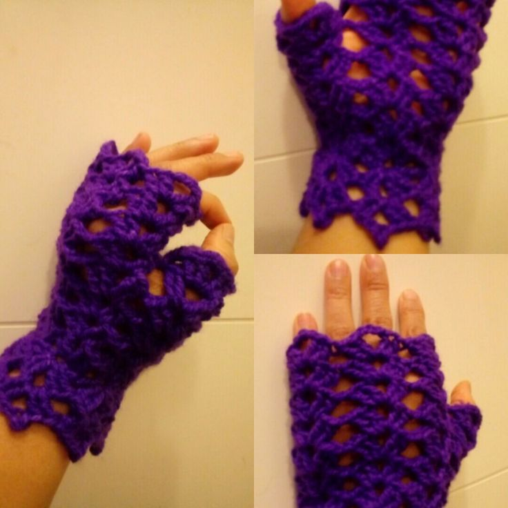 Guante hecho con Punto Abanico a crochet