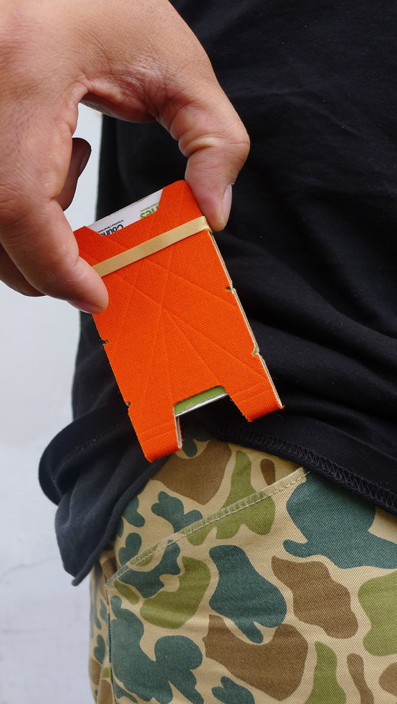 Orange minimalist wallet by creativeBhav on Etsy, $20.00