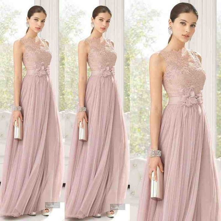 Cheap Bridesmaid Dresses Blush Color Tulle Lace Hand Made Flowers Long Maid Of Honor Floor Length Sheer For Girls