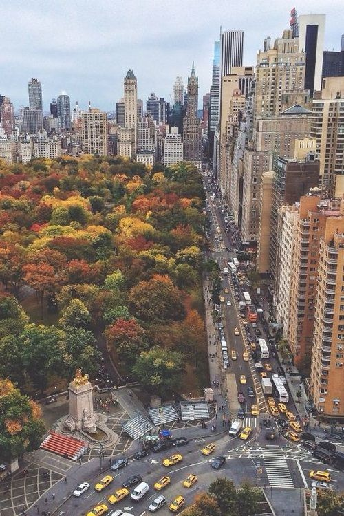 autumn in NYC. Columbus Circle...
