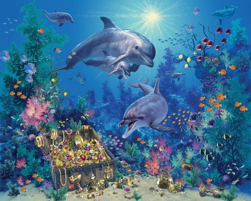 Dolphin Treasure 100 Piece Kids Jigsaw Puzzle, Childrens Puzzle, Children's Puzzles-White Mountain Puzzles