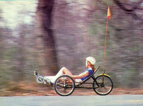 """A Cut-Rate DIY Recumbent Bike"" Our mechanically innovative researchers have done it again; this time they've come up with a DIY recumbent bike for cycling enthusiasts who can't afford a manufactured unit. From MOTHER EARTH NEWS"