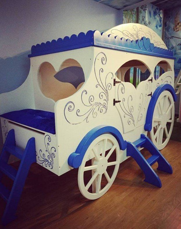 the original princess carriage bed design features beautiful swirl engraving on the roof side and