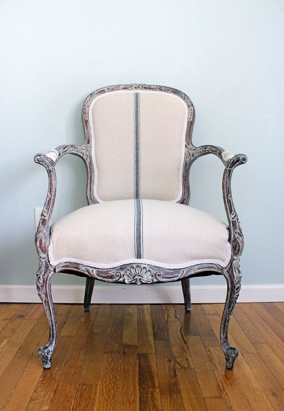 Louis XV Rococo French Fauteuil Chair Armchair Grain Sack French Country Cottage Chic