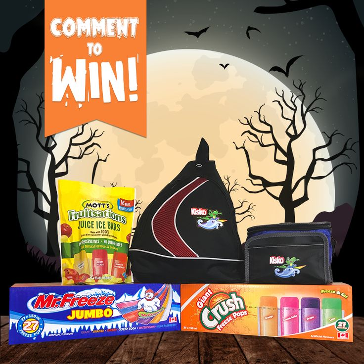 BOO, it's time for a Halloween #Giveaway! 👻 To enter, simply 'Tag' a friend in the comments section below who ❤️'s this spooky time of year! Once you 'Tag' a friend, you will be entered to win 1 box of Mr. Freeze Jumbo Freezies (27 Freezies), 1 box of Crush Giant Freezies (27 Freezies), 1 box of Mott's Fruitsations Juice Ice Bars (16 Ice Bars), 1 Kisko Freezies lunch bag, 1 Kisko Freezies one-shoulder backpack, & 1 Kisko Freezies t-shirt. Good luck & Happy Halloween!